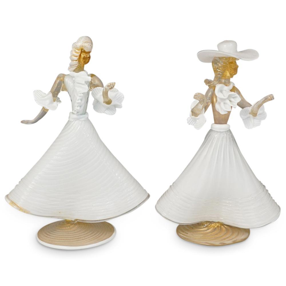 (2 Pc) Murano Glass Venetian Female Figurines