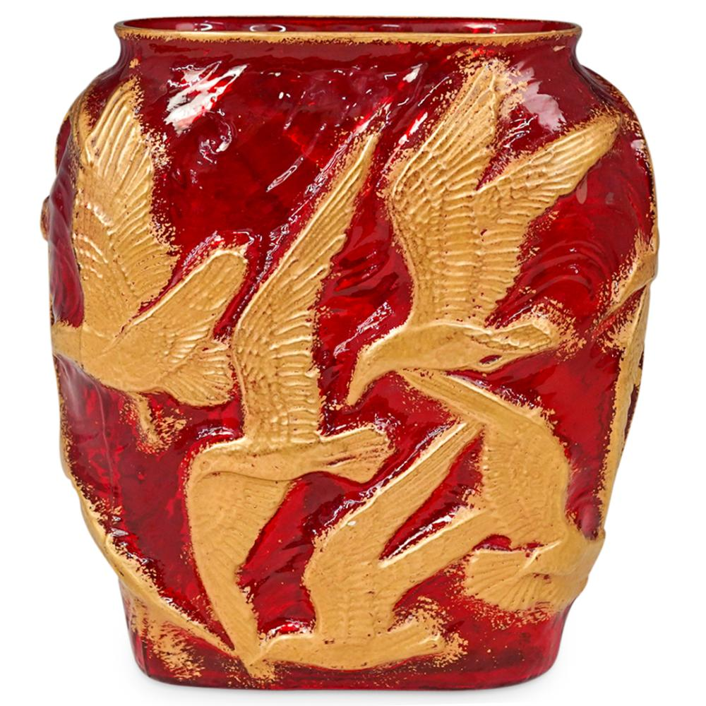 1930s Art Deco Seagull Birds Glass Oval Vase