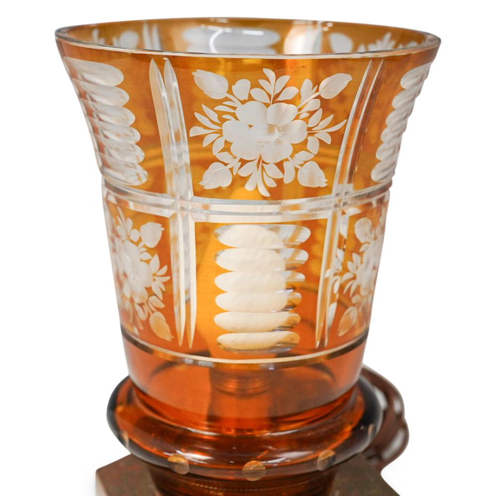 (2 Pc) Bohemian Amber Crystal Table Lamps