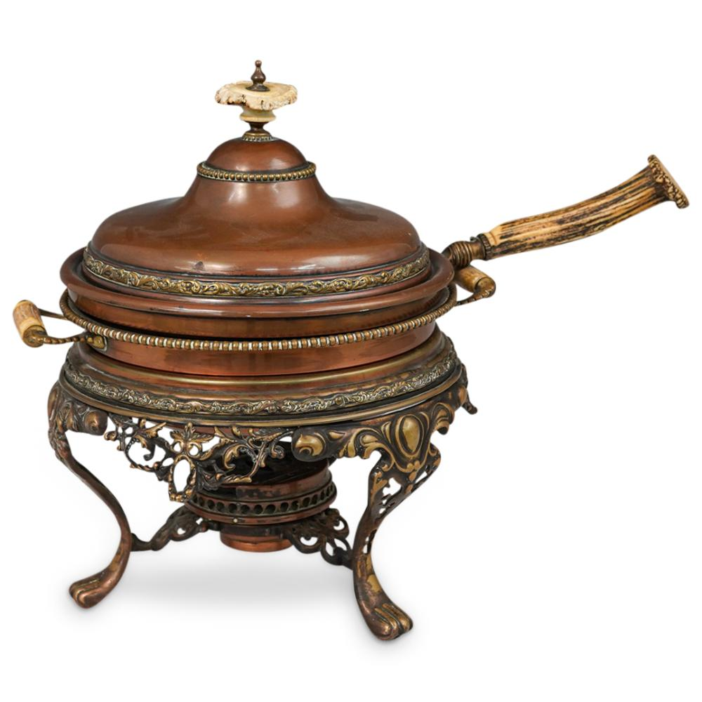 (3 Pc) Antique Rustic Copper Cookware Set