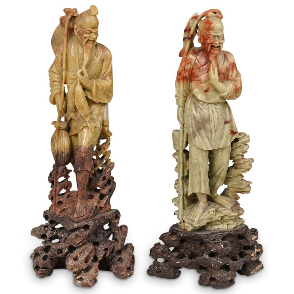 (2 Pc) Fisherman Soapstone Carved Figurines