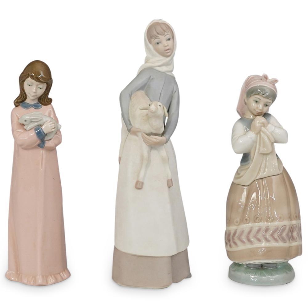 (3 Pc) Lladro & Nadal Porcelain Figurine Grouping Set