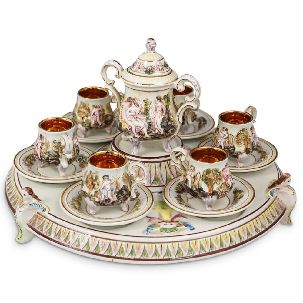 (14 Pc) Capodimonte Glazed Porcelain Tea Set