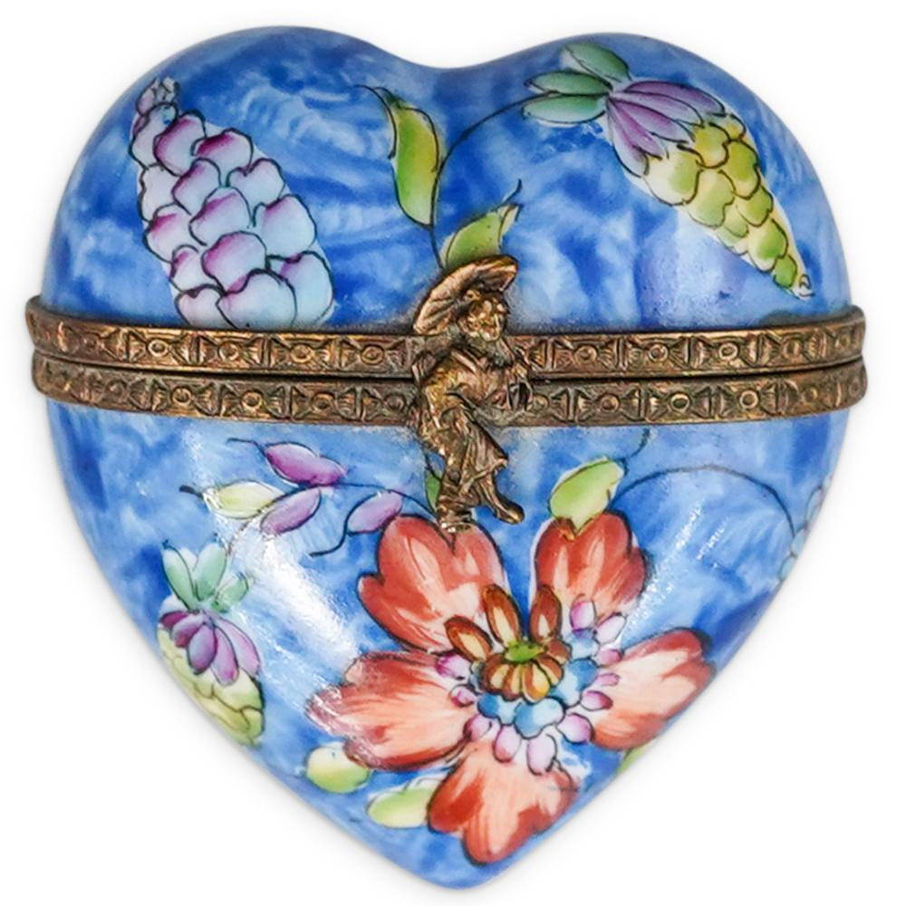 Limoges Porcelain Heart Trinket Box