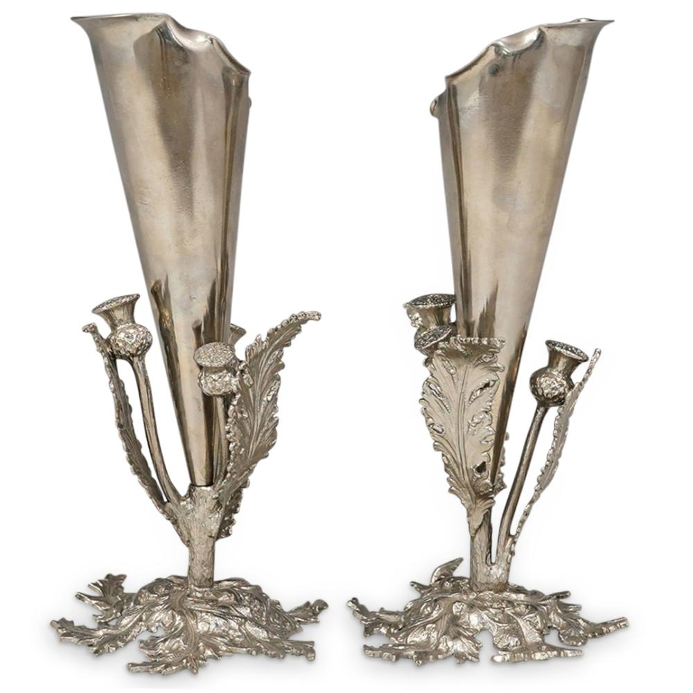 (2 Pc) Silver Plated Floral Bud Vases