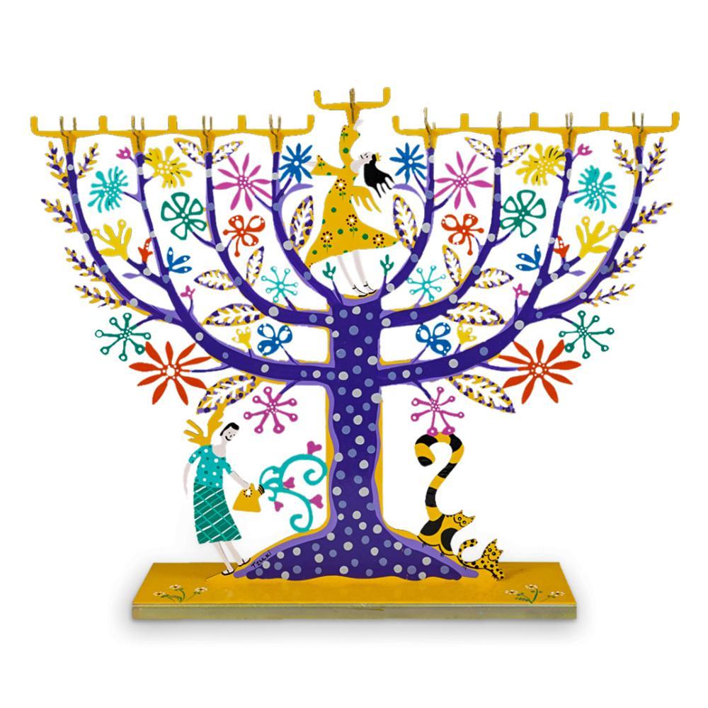 Judaica Hanukkah Family Tree Menorah