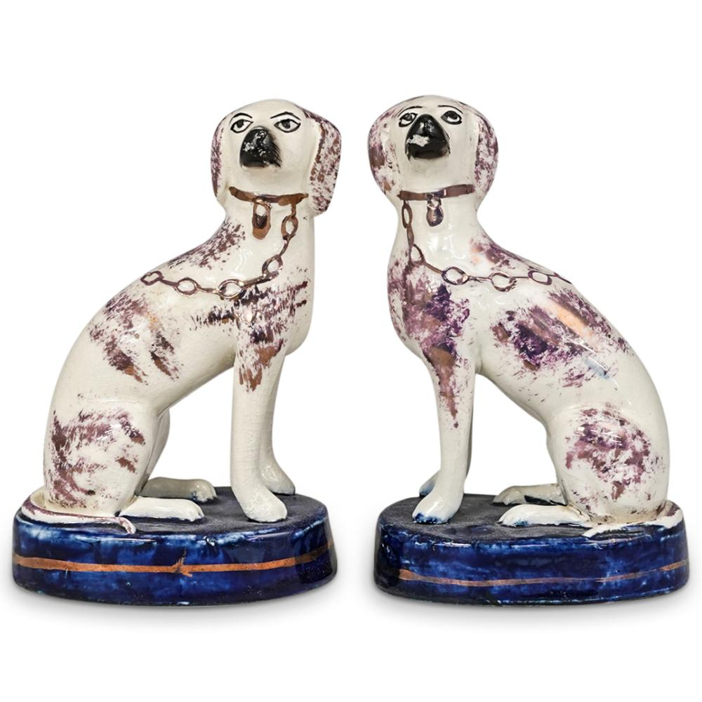 (2 Pc) Staffordshire Glazed Pottery Dog Figurines