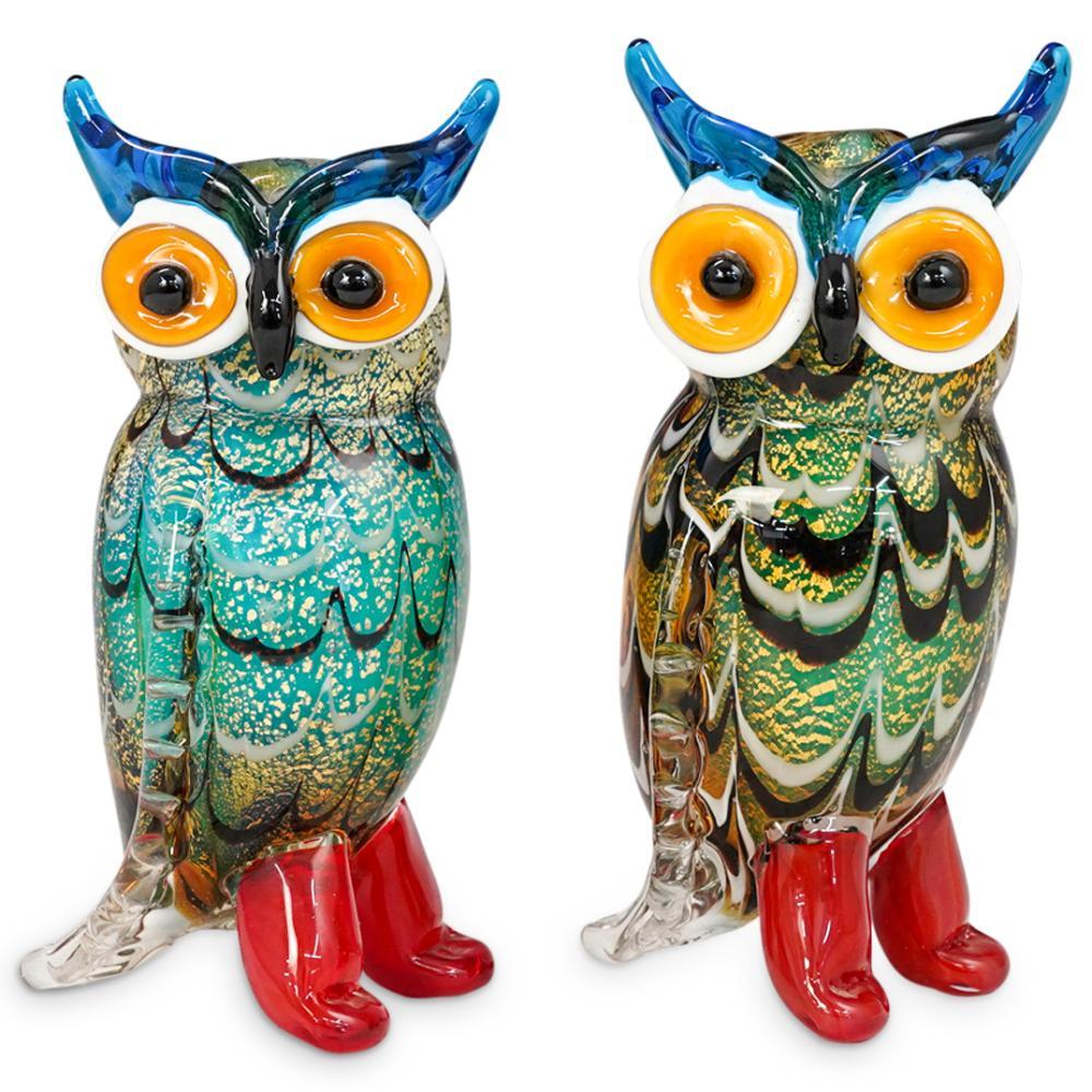 (2 Pc) Murano Art Glass Owl Figurines