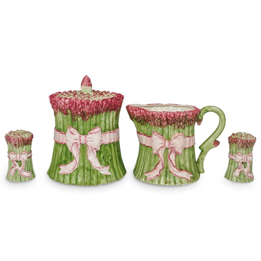 (4 Pc) Fitz & Lloyd Glazed Porcelain Set