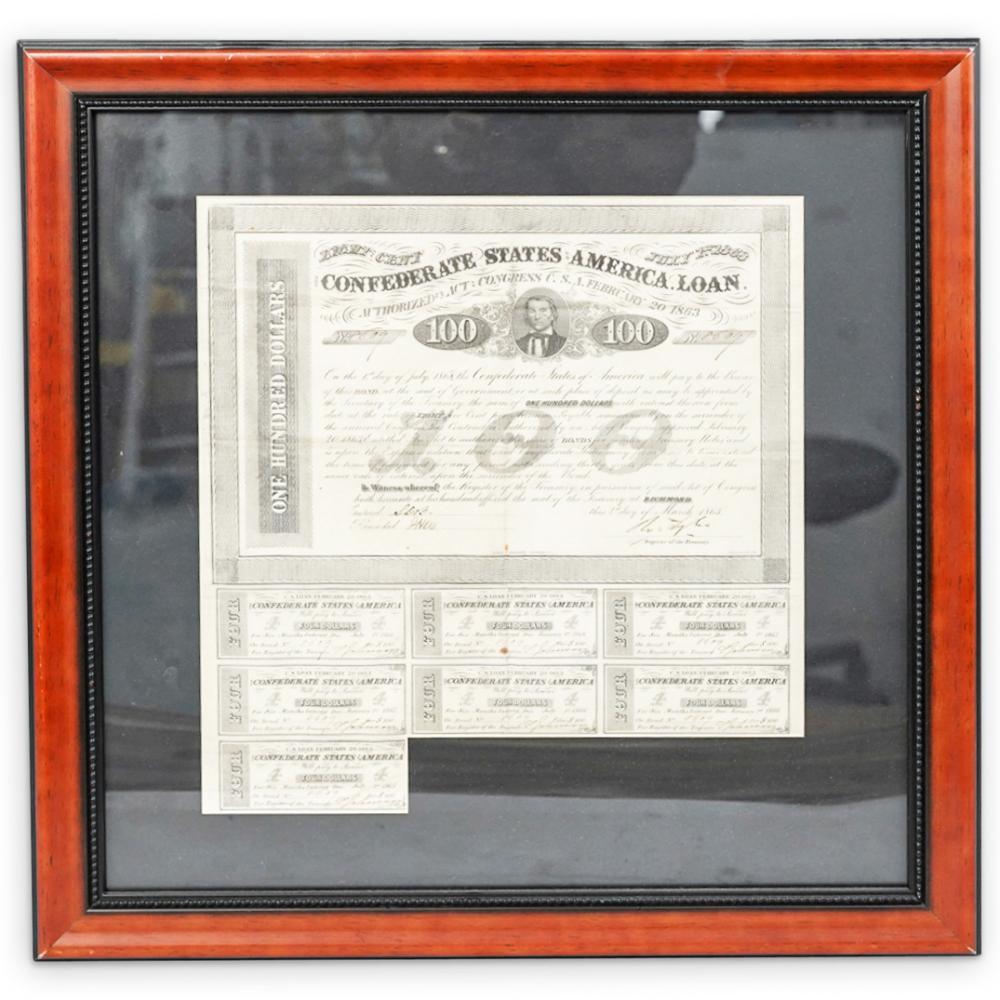 Confederate States of America $100 Bond Sheet