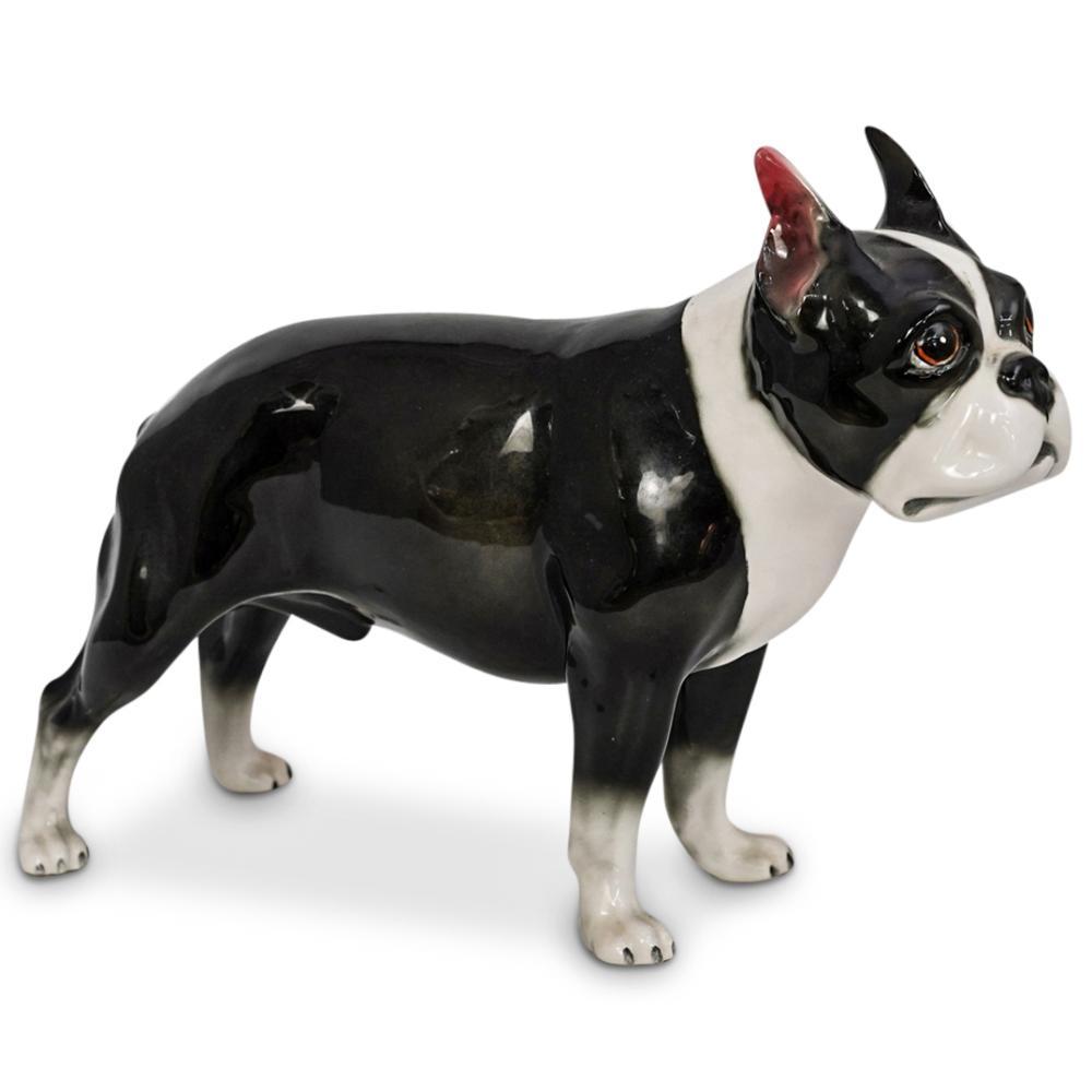 Hutschenreuther Style Boston Terrier Dog Porcelain Figurine