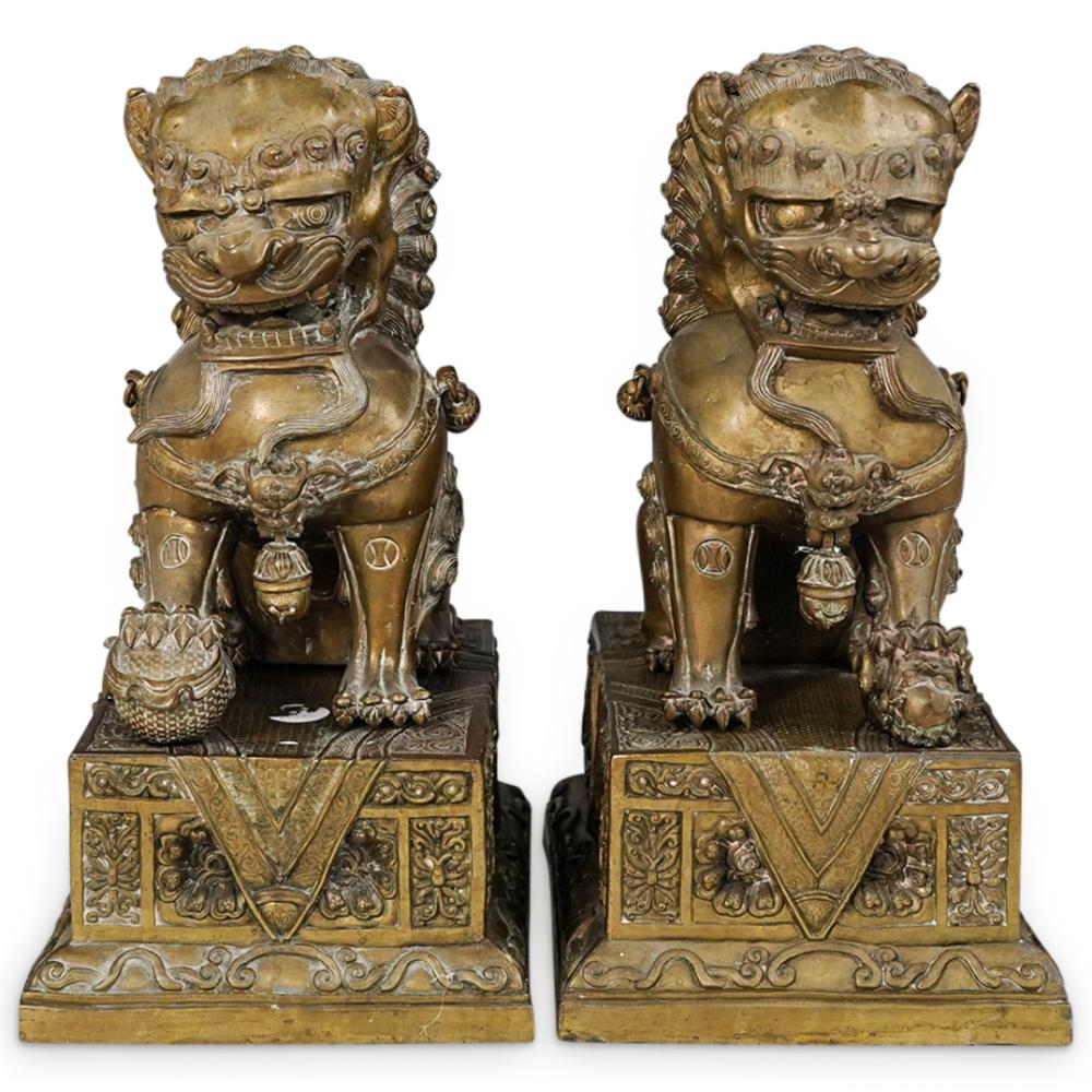 Antique Chinese Bronze Foo Lions on Stands