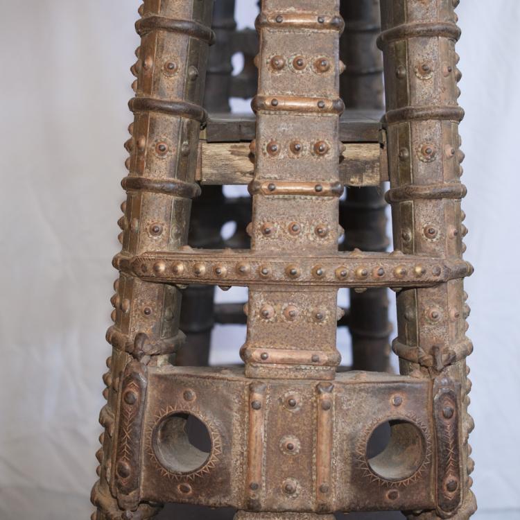 antique oriental wood mixed metal shelving unit. Black Bedroom Furniture Sets. Home Design Ideas