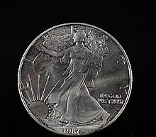 1987 Walking Liberty Silver Dollar Coin