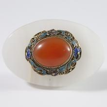 Chinese Enameled Silver Carnelian Adornment