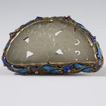 Chinese Enameled Silver & Jade Pendant