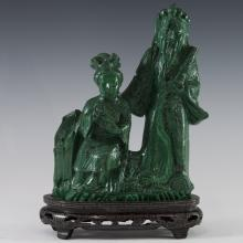 Carved Chinese Malachite Sculpture