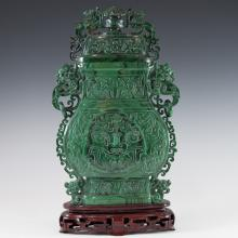 Antique Chinese Malachite Urn