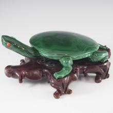Carved Chinese Malachite Turtle