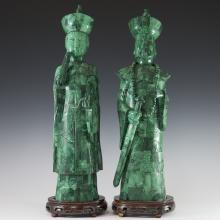 Carved Chinese Malachite Emperors