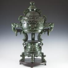 Large Antique Chinese Spinach Jade Censer