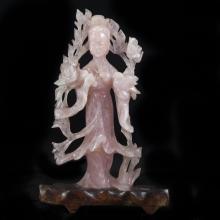 Rose Quartz Guan Yin Figurine