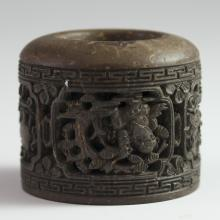 Carved Chinese Wooden Archer's Ring