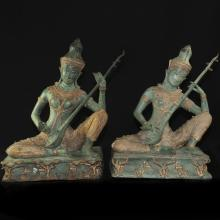 Two Tone Bronze Statues Of Thai Prince