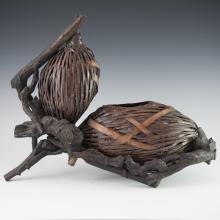 Japanese Double Gourd Hyotan Woven Bamboo Basket