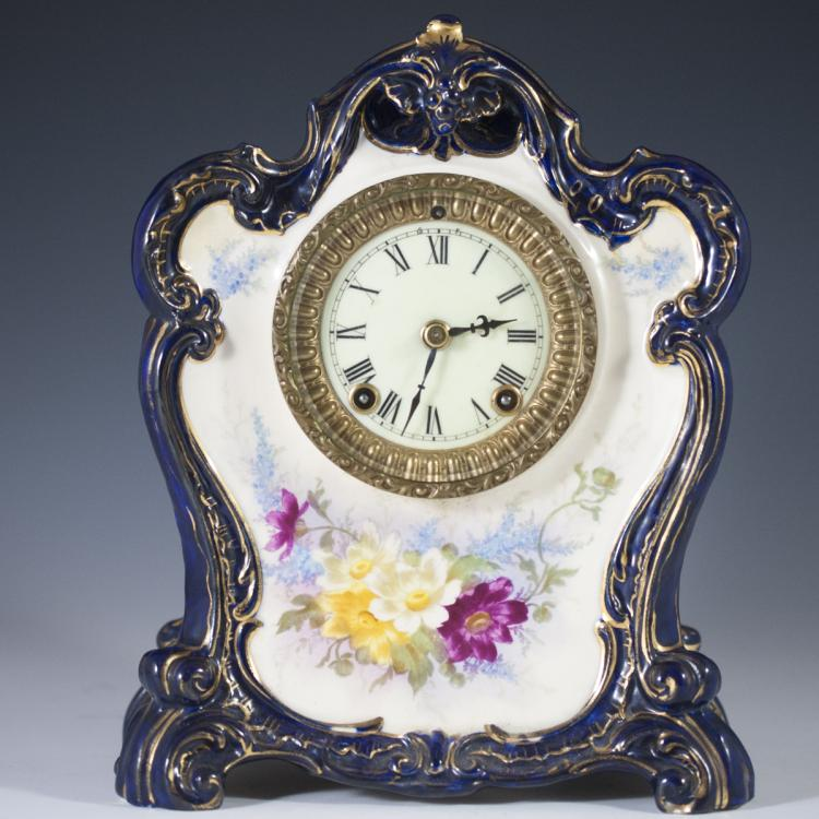 ANTIQUE ANSONIA PORCELAIN CLOCK