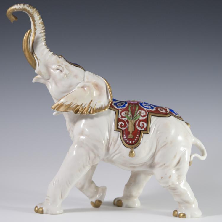 Volkstedt Porcelain Elephant Figurine