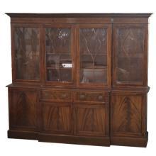 George III Style Breakfront Inlaid Bookcase Secretaire