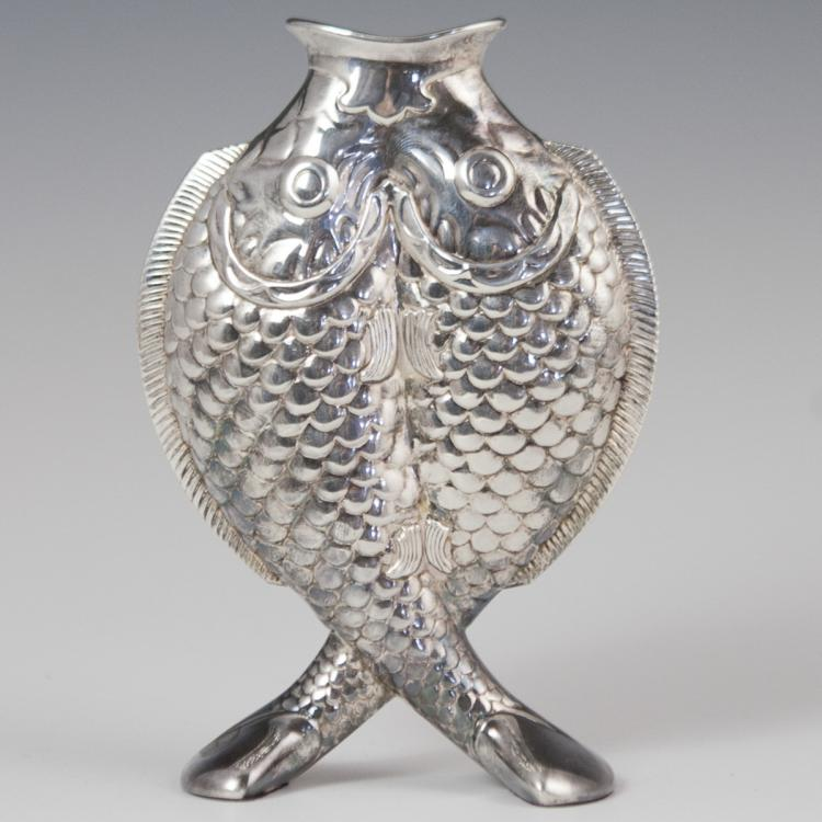 Christofle Deux Poissons Silver Plated Vase