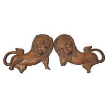Antique Judaica Torah Ark Wooden Lions