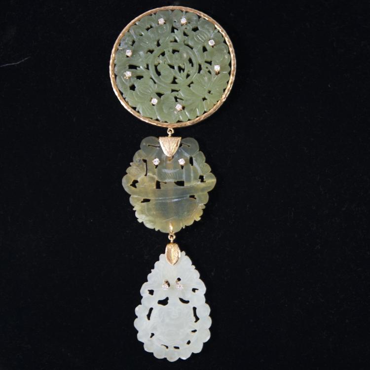 18kt Gold Jade & Diamond Pendant
