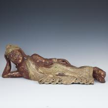 Thai Lacquered & Gilded Wooden Buddha
