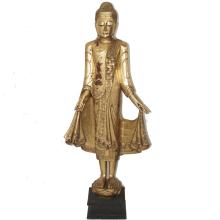 Thai Lacquered & Gilded Standing Buddha