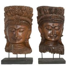 Large Balinese Carved Wooden Buddha Busts