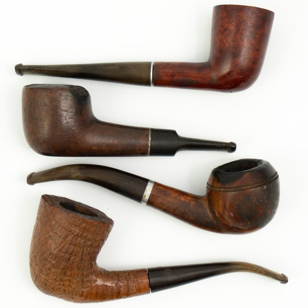 4 Pc) Collection Of Vintage Wooden Tobacco Pipes