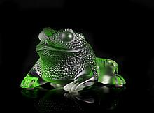 Large Colored Lalique Crystal Toad