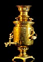 Antique Russian polished brass samovar. Engraved