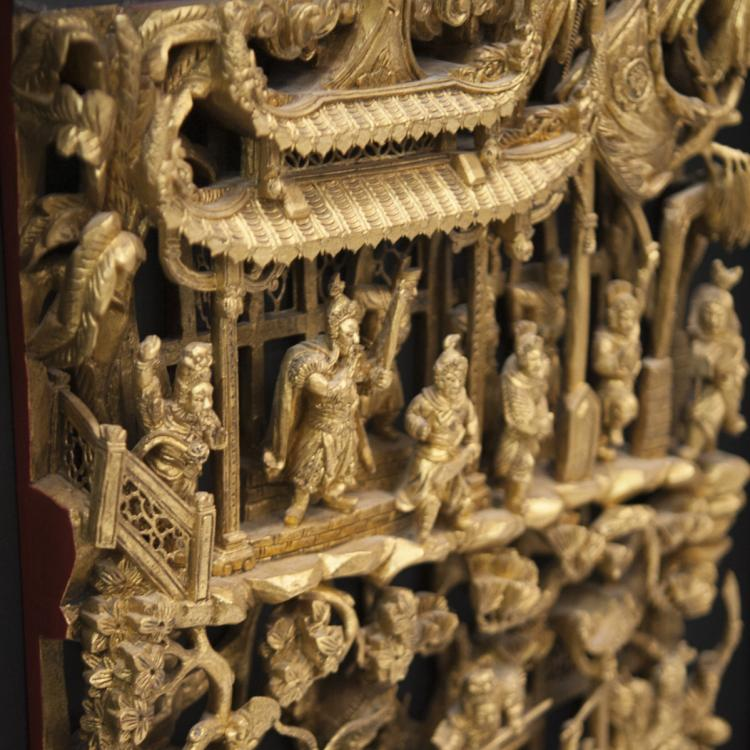 Antique chinese carved gilt wood panels