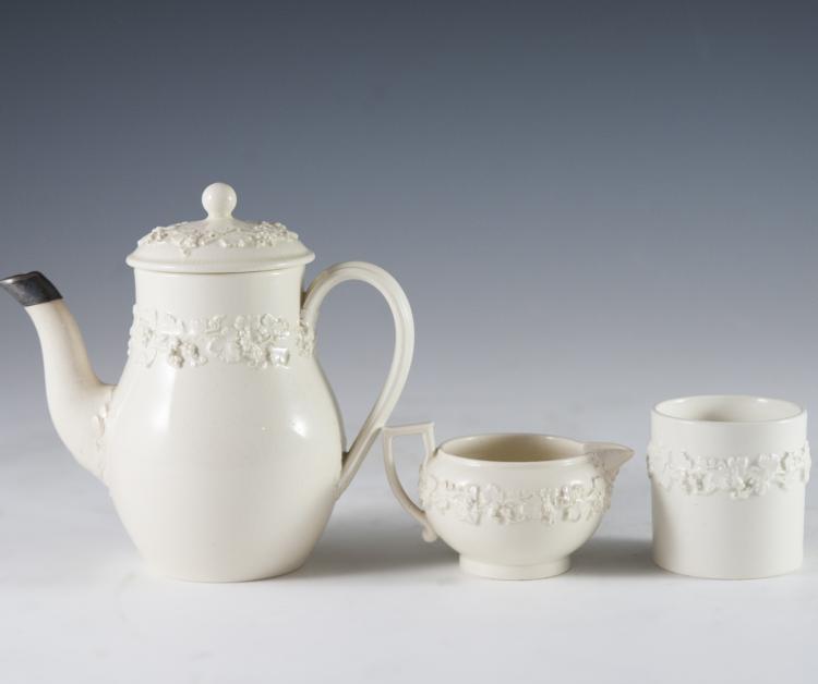 Wedgwood Embossed Queen's Ware Tea Set