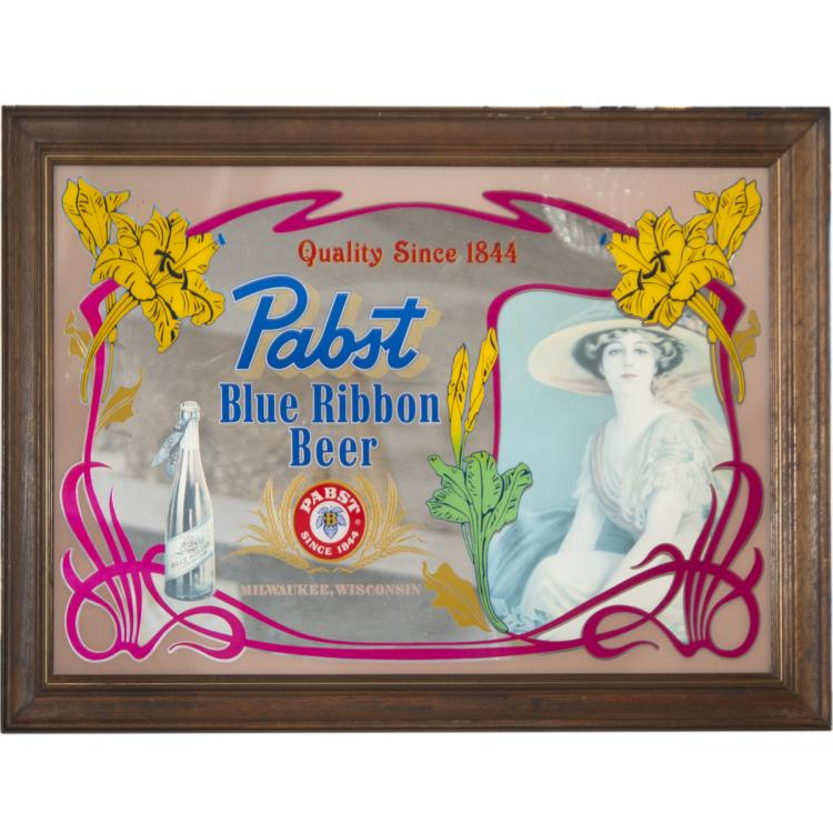 Antique Pabst Blue Ribbon Mirror