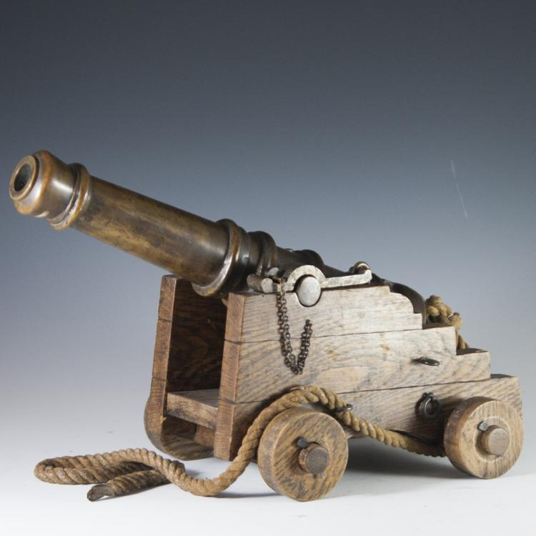 Antique Wooden & Bronze Cannon