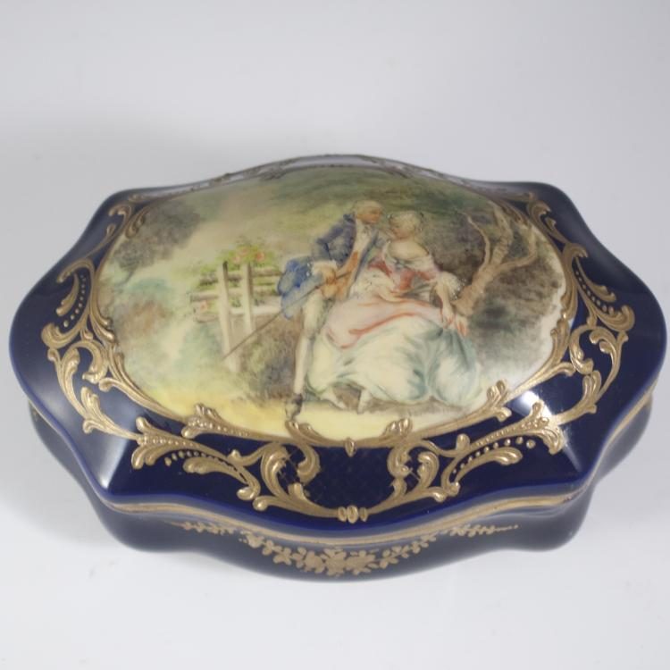 Antique Sevres Porcelain Trinket Box