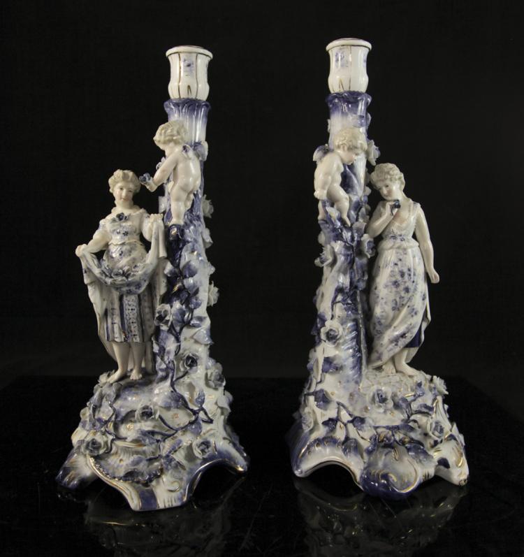 Sitzendorf Porcelain Candlesticks