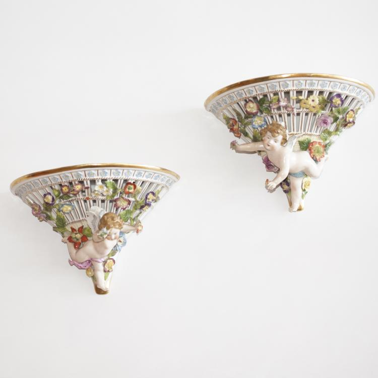 Pair of Meissen Porcelain Sconces
