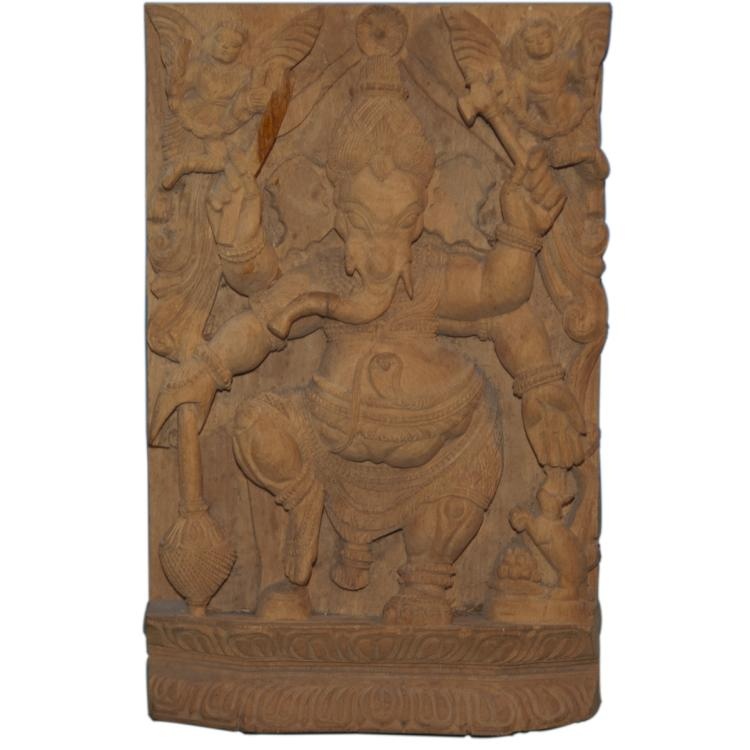 Indian Hindu Carved Wooden Ganesh Plaque