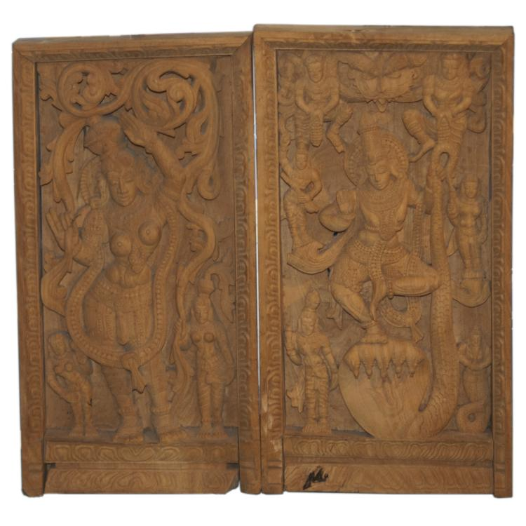 Indian Hindu Carved Wooden Plaques
